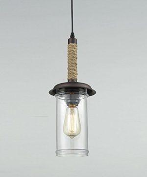 YOBO Lighting Vintage Glass Pendant Light With Hemp Rope 0 2 300x360