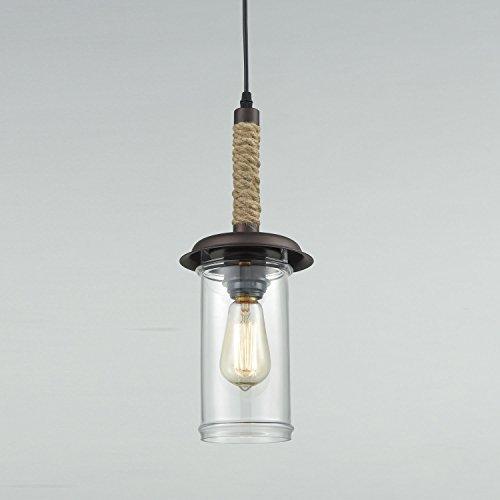 YOBO Lighting Vintage Glass Pendant Light With Hemp Rope 0 2