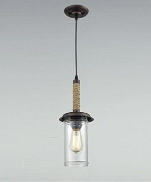 YOBO Lighting Vintage Glass Pendant Light With Hemp Rope 0 4 300x360