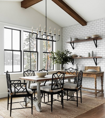 Gig Harbor Farmhouse Dining Room Seattle by Marianne Simon Design