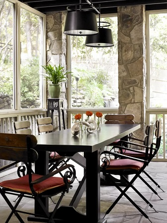 Outdoor Farmhouse Dining Area by by T. Duffy and Associates in Outdoor Spaces