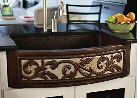 33 Copper Farmhouse Sink with Rounded Front Two-Tone Scroll Finish