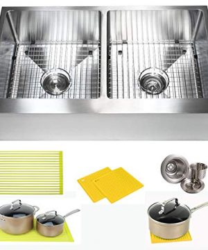 36 Inch Farmhouse Apron Front Stainless Steel Kitchen Sink Package 16 Gauge Flat Front Double Bowl Basin Complete Sink Pack Bonus Kitchen Accessories 0 300x360