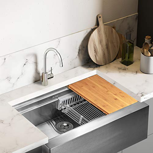 AKDY Apron Farmhouse Handmade Stainless Steel Kitchen Sink Kitchen Sink with Drain Strainer Kit Adjustable Tray and Cutting Board 33 x 22 x 9 Single Bowl Space Saving Kitchen Sink