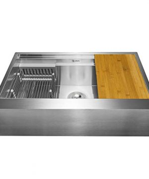 AKDY 30 Inch 30x20x9 Apron Farmhouse Handmade Stainless Steel Kitchen Sink Single Bowl Space Saving Kitchen Sink Kitchen Sink With Drain Strainer Kit Adjustable Tray And Cutting Board 0 300x360