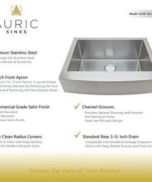 Auric Sinks 27 Retrofit Short Apron Farmhouse Curved Front Single Bowl Sink Stainless Steel 6SCAR 16 27 Retro SGL 0 0 300x360