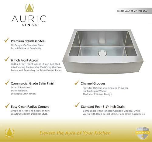 Auric Sinks 27 Retrofit Short Apron Farmhouse Curved Front Single Bowl Sink Stainless Steel 6SCAR 16 27 Retro SGL 0 0