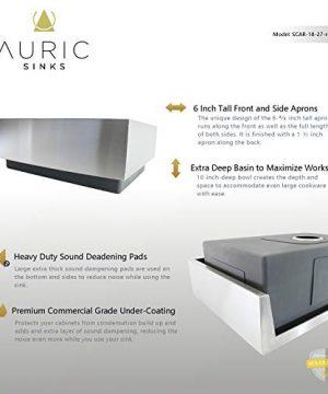 Auric Sinks 27 Retrofit Short Apron Farmhouse Curved Front Single Bowl Sink Stainless Steel 6SCAR 16 27 Retro SGL 0 1 300x360