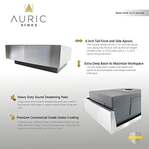 Auric Sinks 27 Retrofit Short Apron Farmhouse Curved Front Single Bowl Sink Stainless Steel 6SCAR 16 27 Retro SGL 0 1
