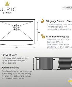 Auric Sinks 27 Retrofit Short Apron Farmhouse Curved Front Single Bowl Sink Stainless Steel 6SCAR 16 27 Retro SGL 0 3 300x360