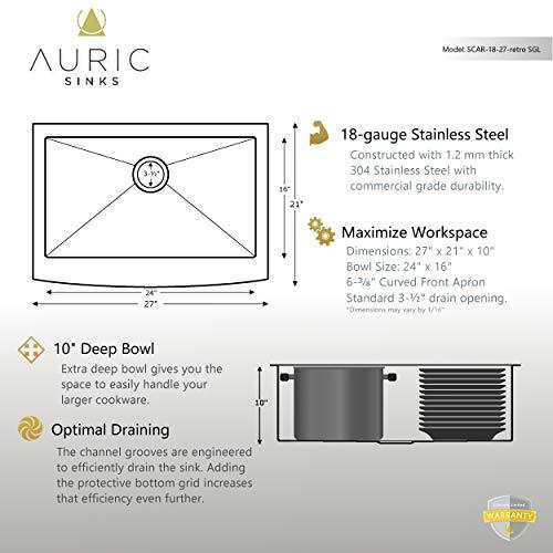 Auric Sinks 27 Retrofit Short Apron Farmhouse Curved Front Single Bowl Sink Stainless Steel 6SCAR 16 27 Retro SGL 0 3