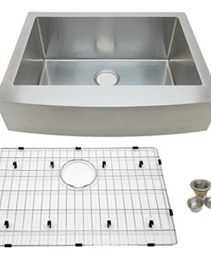 Auric Sinks 27 Retrofit Short Apron Farmhouse Curved Front Single Bowl Sink Stainless Steel 6SCAR 16 27 Retro SGL 0 300x360
