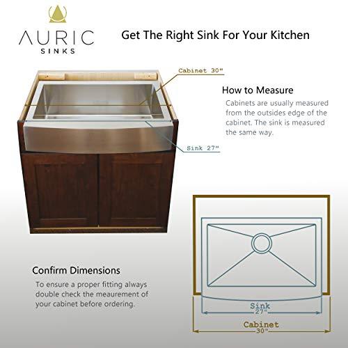 Auric Sinks 27 Retrofit Short Apron Farmhouse Curved Front Single Bowl Sink Stainless Steel 6SCAR 16 27 Retro SGL 0 4