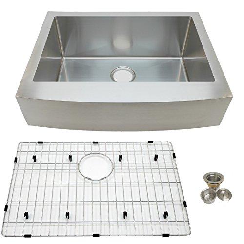 Auric Sinks 27 Retrofit Short Apron Farmhouse Curved Front Single Bowl Sink Stainless Steel 6SCAR 16 27 Retro SGL 0