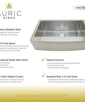 Auric Sinks 36 Farmhouse Curved Front Apron Single Bowl Sink 16 Gauge Stainless Steel With Heavy 7 Gauge Deck 6SCAR 16 36 SGL 0 0 300x360