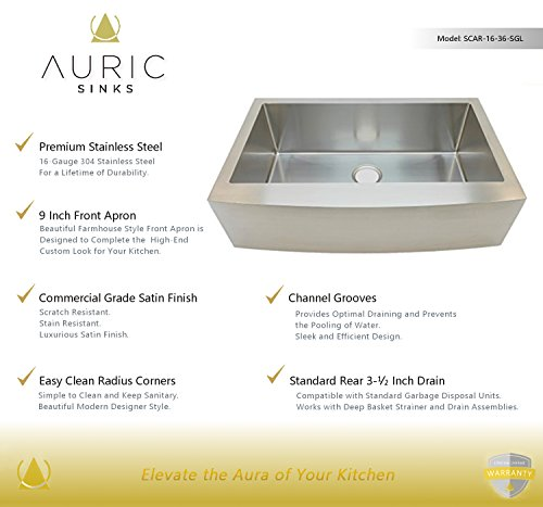 Auric Sinks 36 Farmhouse Curved Front Apron Single Bowl Sink 16 Gauge Stainless Steel With Heavy 7 Gauge Deck 6SCAR 16 36 SGL 0 0