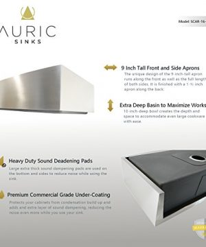 Auric Sinks 36 Farmhouse Curved Front Apron Single Bowl Sink 16 Gauge Stainless Steel With Heavy 7 Gauge Deck 6SCAR 16 36 SGL 0 1 300x360