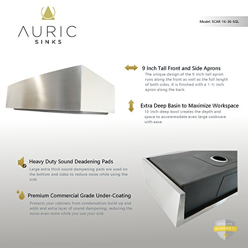 Auric Sinks 36 Farmhouse Curved Front Apron Single Bowl Sink 16 Gauge Stainless Steel With Heavy 7 Gauge Deck 6SCAR 16 36 SGL 0 1