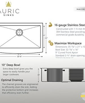 Auric Sinks 36 Farmhouse Curved Front Apron Single Bowl Sink 16 Gauge Stainless Steel With Heavy 7 Gauge Deck 6SCAR 16 36 SGL 0 2 300x360