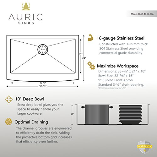 Auric Sinks 36 Farmhouse Curved Front Apron Single Bowl Sink 16 Gauge Stainless Steel With Heavy 7 Gauge Deck 6SCAR 16 36 SGL 0 2