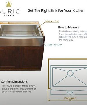 Auric Sinks 36 Farmhouse Curved Front Apron Single Bowl Sink 16 Gauge Stainless Steel With Heavy 7 Gauge Deck 6SCAR 16 36 SGL 0 3 300x360