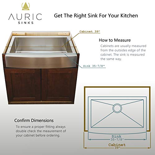 Auric Sinks 36 Farmhouse Curved Front Apron Single Bowl Sink 16 Gauge Stainless Steel With Heavy 7 Gauge Deck 6SCAR 16 36 SGL 0 3