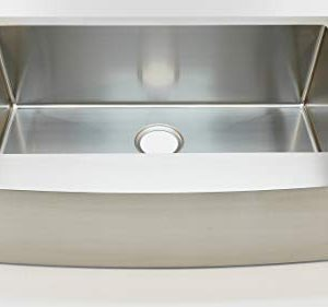 Auric Sinks 36 Farmhouse Curved Front Apron Single Bowl Sink 16 Gauge Stainless Steel With Heavy 7 Gauge Deck 6SCAR 16 36 SGL 0 300x281