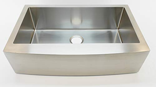 Auric Sinks 36 Farmhouse Curved Front Apron Single Bowl Sink 16 Gauge Stainless Steel With Heavy 7 Gauge Deck 6SCAR 16 36 SGL 0