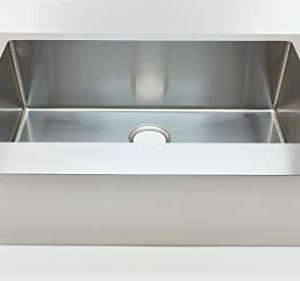 Auric Sinks 36 Farmhouse Flat Front Apron Single Bowl Sink Premium 16 Gauge Stainless Steel 6SFAR 16 36 SGL 0 300x281