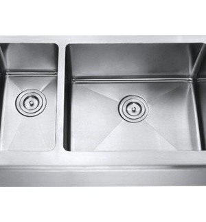 Chef Series 33 Inch Stainless Steel Premium 16 Gauge Smooth Flat Front Farm Apron Kitchen Sink 3070 Double Bowl 15mm Radius Design With Free Accessories 0 300x323