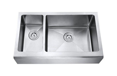 Chef Series 33 Inch Stainless Steel Premium 16 Gauge Smooth Flat Front Farm Apron Kitchen Sink 3070 Double Bowl 15mm Radius Design With Free Accessories 0
