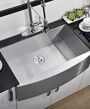 Comllen 33 Inch 304 Stainless Steel Farmhouse Kitchen Sink Single Bowl 16 Gauge 10 Inch Deep Handmade Undermount Apron Kitchen Sink 0 300x360