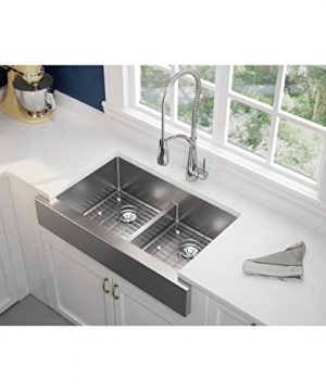 Elkay Crosstown ECTRUFA32179DBG Equal Double Bowl Farmhouse Stainless Steel Sink Kit With Aqua Divide 0 0 300x360