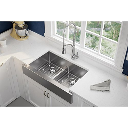 Elkay Crosstown ECTRUFA32179DBG Equal Double Bowl Farmhouse Stainless Steel Sink Kit With Aqua Divide 0 0