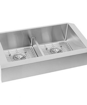 Elkay Crosstown ECTRUFA32179DBG Equal Double Bowl Farmhouse Stainless Steel Sink Kit With Aqua Divide 0 1 300x360