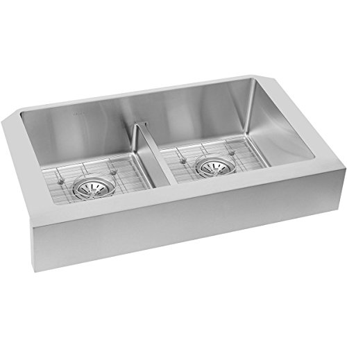 Elkay Crosstown ECTRUFA32179DBG Equal Double Bowl Farmhouse Stainless Steel Sink Kit With Aqua Divide 0 1