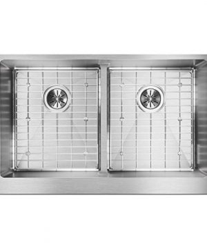 Elkay Crosstown ECTRUFA32179DBG Equal Double Bowl Farmhouse Stainless Steel Sink Kit With Aqua Divide 0 300x360