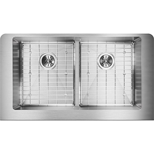 Elkay Crosstown ECTRUFA32179DBG Equal Double Bowl Farmhouse Stainless Steel Sink Kit With Aqua Divide 0