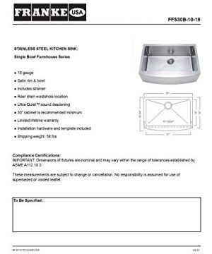 Franke Kinetic 30 Apron Front Farm House Single Bowl Kitchen Sink Stainless Steel 0 0 300x360