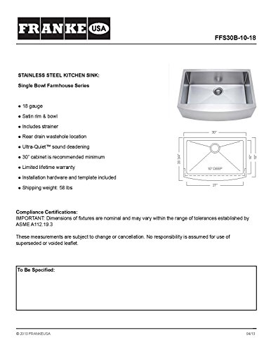 Franke Kinetic 30 Apron Front Farm House Single Bowl Kitchen Sink Stainless Steel 0 0