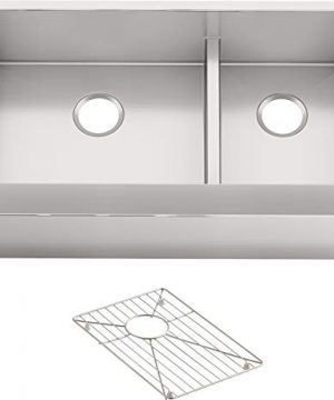 KOHLER K 5416 NA Strive Self Trimming Farmhouse SmartDivide Undermount LargeMedium Double Bowl Kitchen Sink With Tall Apron 35 12 X 21 12 Stainless Steel 0 300x360