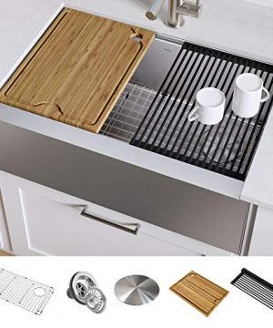 KRAUS KWF410 33 Kore Workstation 33 Inch Farmhouse Flat Apron Front 16 Gauge Single Bowl Stainless Steel Kitchen Sink With Integrated Ledge And Accessories Pack Of 5 0 300x360