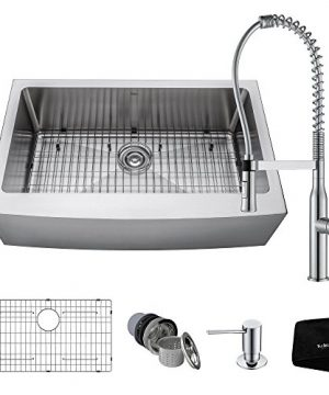 Kraus KHF200 33 1650 41CH 33 Inch Combo With Single Bowl 16 Gauge Stainless Steel Farmhouse Sink And Nola Commercial Kitchen Faucet With Soap Dispenser In Chrome 0 0 300x360