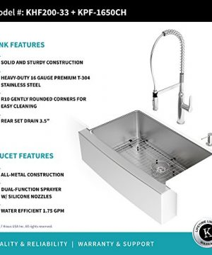 Kraus KHF200-33-1650-41CH 33 Inch Chrome Combo with Single Bowl 16 Gauge  Stainless Steel Farmhouse Sink and Nola Commercial Kitchen Faucet with Soap  ...