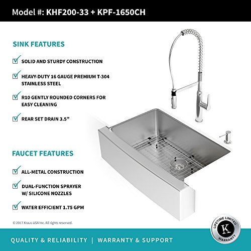 Kraus KHF200 33 1650 41CH 33 Inch Combo With Single Bowl 16 Gauge Stainless Steel Farmhouse Sink And Nola Commercial Kitchen Faucet With Soap Dispenser In Chrome 0 2