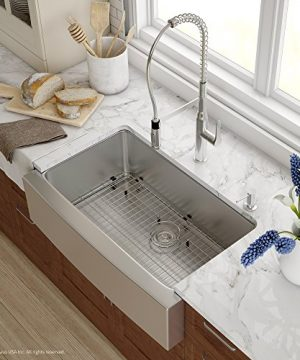 Kraus KHF200 33 1650 41CH 33 Inch Combo With Single Bowl 16 Gauge Stainless Steel Farmhouse Sink And Nola Commercial Kitchen Faucet With Soap Dispenser In Chrome 0 300x360