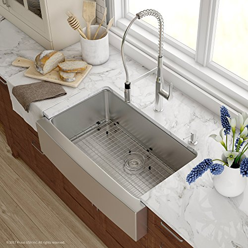 Kraus KHF200 33 1650 41CH 33 Inch Combo With Single Bowl 16 Gauge Stainless Steel Farmhouse Sink And Nola Commercial Kitchen Faucet With Soap Dispenser In Chrome 0