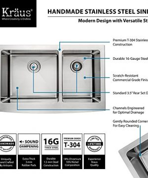 Kraus KHF203 33 KPF1612 KSD30CH 33 Inch Farmhouse Double Bowl Stainless Steel Kitchen Sink With Chrome Kitchen Faucet And Soap Dispenser 0 0 300x360