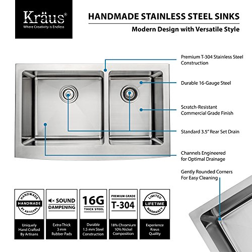 Kraus KHF203 33 KPF1612 KSD30CH 33 Inch Farmhouse Double Bowl Stainless Steel Kitchen Sink With Chrome Kitchen Faucet And Soap Dispenser 0 0
