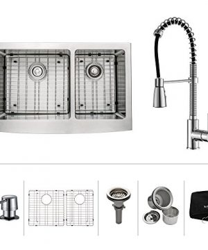 Kraus KHF203 36 KPF1612 KSD30CH 36 Inch Farmhouse Double Bowl Stainless Steel Kitchen Sink With Chrome Kitchen Faucet And Soap Dispenser 0 0 300x360